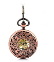 free shipping (4pcs/lot) red bronze  hollow mechanical pocket watch necklace,
