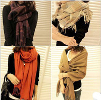 Autumn and winter women's yarn muffler scarf cape dual-use ultra long lovers plaid faux scarf