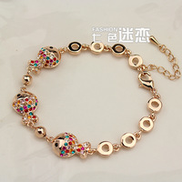 Free shipping Retail and Wholesale with Rhinestones small Fine Bracelet Golden Woman beautiful Jewelry