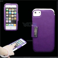 Hot selling,High quality Left and Right PU leather Case cover for iPhone 5 with screen protector case P-IPH5CASE016