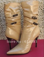 Special offer free shipping wholesale 2012 fashion women's classy&delicate patent cow leather warm short high heels boots