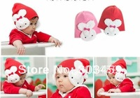 Free Shipping Drop Shipping cotton baby cap infant rabbit cap hat cute style santa/christmas/x'mas children cap