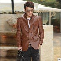 Leather coat genuine leather suede jacket simple casual fashion men sheep leather dermis simple big fashion 2013 GLM010