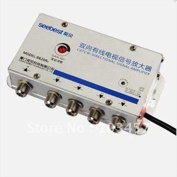 Free shipping, SB-8820R4, 4 way bi-directional CATV amplifier, Sat Cable TV Signal Amplifier Splitter Booster CATV, 20DB