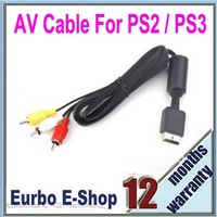 Free Shipping 10PCS/Lot AV Audio Video Cable For PS2 / PS3 Modle 1 Black (EPS023)
