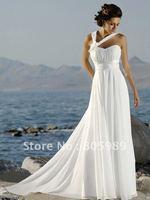 2012 Stock New  white chiffon   Wedding Brides Dress size 6 8 10 12 14 16 PJ0015
