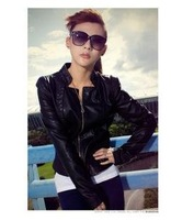 Free shipping Autumn New Fashion Women's Slim Zipper PU Leather Jacket Lady Coat Outerwear