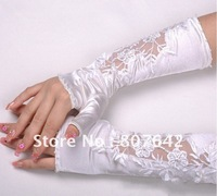 "Free Shipping Stocks 11"" 5pairs/lot Satin Beaded Lace Opera Wedding Gloves Bridal Gloves Hot Sale Top Quality Sky-G019"