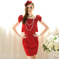 alibaba express women clothing Summer red petal elegant bow twinset one-piece dress fashion