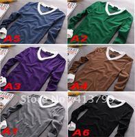 2 pcs New Arrive Fashion Man Shirt Cotton V-Neck Full sleeve T-shirt Free Shipping 6 colors
