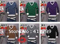 6 pcs / lot  New Arrive Fashion Man Shirt Cotton V-Neck Full sleeve T-shirt Free Shipping 6 colors