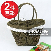 A M@ll Straw! Vivi girl cutout corn husk laciness bow one shoulder straw braid women's handbag coffee -cbt1