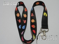 Brand New Black Fruit design key lanyard  mobile neck strap 10pcs/lot  FREE SHIPPING