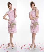 Chinese Cheongsam Qipao Evening Dress Lace Pink 29418