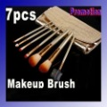 wholesale and retail, 7 Pcs Professional Makeup Brush Cosmetic Brushes with Gold Leather Case Dropshipping Free Shipping