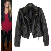 2012 autumn short design slim oblique zipper leather clothing female plus size motorcycle turn-down collar PU short jacket