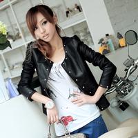 Autumn short design Women slim outerwear motorcycle rivet PU clothing women's