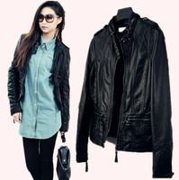 2012 autumn water wash PU stand collar slim elegant motorcycle leather clothing female short design jacket outerwear