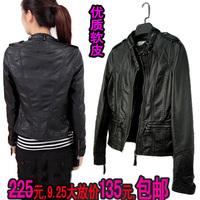 Motorcycle plus size clothing water wash women's PU genuine leather clothing female short design slim autumn new arrival coat