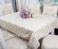 beige tablecloth lace table cover home textile wholesaler and retailer knitting edge 155*225cm table cloth beige