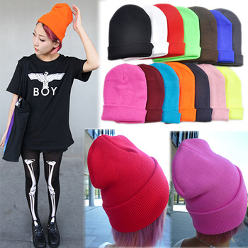 Candy color star cap gd neon knitted hat hip-hop cap general lovers cap
