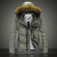Alibaba express down coat winter men's clothing detachable with a hood medium-long down coat