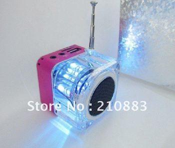 Transparent luminous clock  led display  MP3 Player Speaker  portable Angel Music Mini USB FM 4GB TF Card