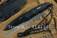 Free Shipping WALTHER tactical hunting knife with K sheath camping knife outdoor tools-Black plastic w/lanyard Handle