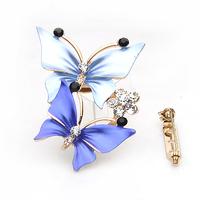 Free shipping Ya Diena Rhinestone Butterfly Brooch scarf buckle dual-purpose B0008