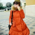 2012 new style wholesale long raccoon fur collar thick women down jacket double breasted fur collar simachev