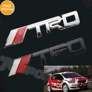 Free Shipping TRD Chrome Racing Emblem Auto Car Trunk Badge 3D Logo Metal Sticker Decal for Toyota
