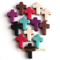 Wholesale - 125pcs New Mixed Howlite Gem Turquoise Cross Loose Beads Fit Beads Bracelets DIY Have in Stock 110009