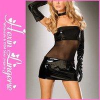 Free Shipping Black Look Wet Pvc Lady Mini Dress With Ventilate Waist LB1184