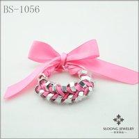 bowknot bracelets screw bracelets new design bracelets  wrap pink ribbon chain 12 pcs/lot-free shipping