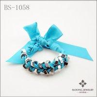 string friendship bracelets screw bracelets new design bracelets  wrap blue ribbon chain 12 pcs/lot-free shipping
