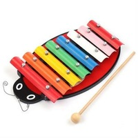 Free Shipping Hot sale super cute montessori wooden puzzle  toy ladybug shape hand knocks xylophone eight notes
