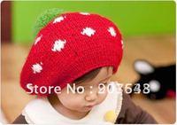 Free shipping 2012 New Autumn winter baby hat kid crochet cap lovely infant's headwear Christmas Children gift baby beret