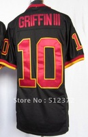 Free Shipping!!! #10 Robert Griffin III 2012 new black jersey (name number stitched)