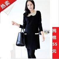 Autumn maternity clothing autumn and winter long-sleeve 100% cotton fashion maternity dress long design maternity one-piece