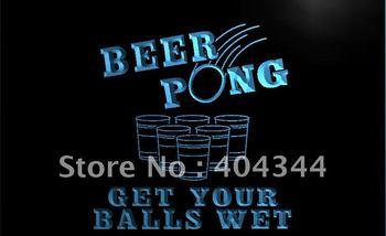 LB939- Beer Pong Get Your Balls Wet Neon Light Sign  hang sign home decor shop crafts led sign
