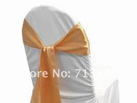 free shipping peach satin chair sash for wedding