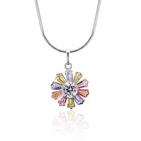 Xuping accessories gold plated multicolour zircon flower necklace female sparkling short design gift