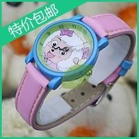 2pcs/lot Brand Cute quartz leather kids wristwatch Child watch waterproof female goat cartoon watch Christmas gift with box