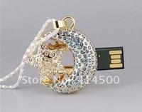 NEW 4GB 8GB 16GB 32GB USB Flash Drive 2.0 Memory Stick - Crystal Moon Star Necklace