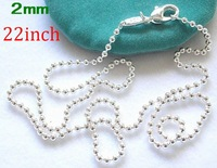 Promotions!Free shipping 2MM x 22inch length silver ball chain necklace.fashion jewelry.silver necklace/.necklace.Only $0.99