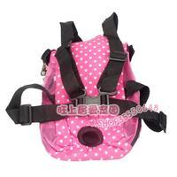 - pet bag portable bag dog cat backpack pink dot backpack b