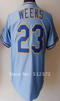 Free Shipping!!! 2012 new style jersey #23 Rickie Weeks Throwback blue jersey