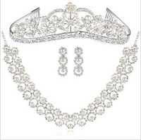 Free Shipping New  Clear Glaring Crystal Rhinestones  Boutique Pearl Wedding Bridal Jewelry Set Tiara Necklace Earrings BJ094