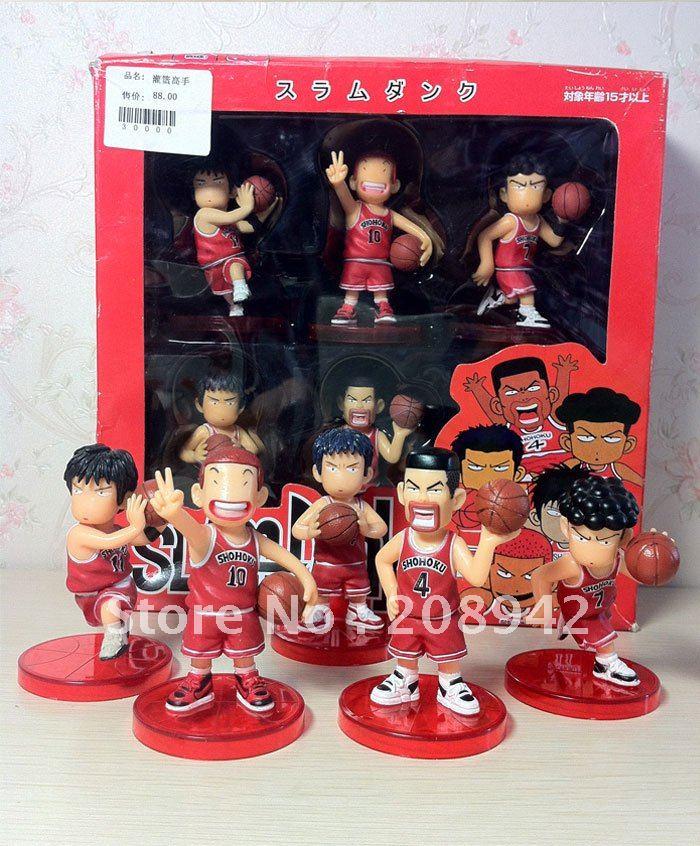 Best selling!!! Slam Dunk Basketball Player PVC Figure Set Free shipping,5 pcs/set(China (Mainland))