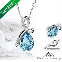 Manufacturer Supply Water Drop Necklaces Fashion Special Offer 6 Colors Crystal Necklace Women Mix Color Wholesale Free Shipping(China (Mainland))